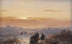 Artwork by Andreas Schelfhout, A winter landscape with figures at dusk, Made of oil on panel