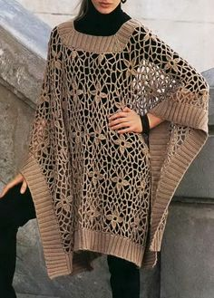 ~make body shape of this poncho in spiderweb lace pattern, add wide ribbing to edges and neckline~ Crochet Shawls: Crochet Poncho For Women - Crochet Lace