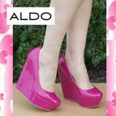"""Terina wedge in bright pink patent. Stunning real leather wedge. Cute and comfy eye candy!   Details: Heel 5-1/4"""" platform 1-1/2"""". The shoe is marked 38, but fits 7.5M, might fit wide size 7.  Please use only ✔OFFER  button for all price negotiations. I'll do a price drop⤵ for you for discounted shipping, if we agree about the price. ALDO Shoes Wedges"""