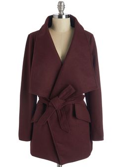 Preferred Pairing Coat in Merlot. You understand the finer things in life - food, drinks, and this tie-waist coat! #red #modcloth