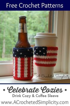 "Free Crochet Pattern - ""Celebrate"" Drink Cozy & Coffee Sleeve - by A Crocheted Simplicity"