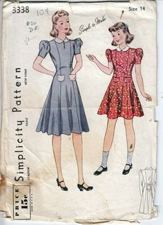 Vintage 1930s Girls Princess Seam Dress Simplicity 3338 Breast 32"