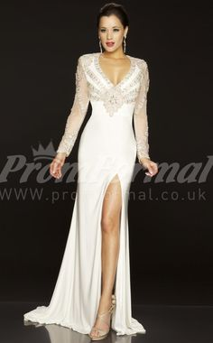 white long sleeve prom dresses