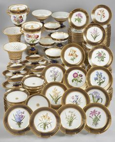 SEVRES dessert service with Redoute flowers