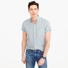 Short-sleeve shirt in end-on-end cotton-Irish linen