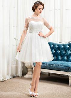 A-linjeformat Rund-urringning Knälång Tyll Bröllopsklänning med Spetsar Pärlbrodering Paljetter (002056248)
