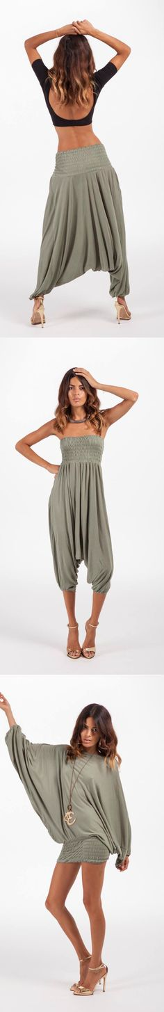 Dancing Leopard Magic Pants/harem pants in Army Green, black and tie dye are amazing. wear as harem pant or long sleeve top only