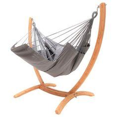 Hangstoel lounger grijs met houten standaard