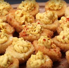 Deep Fried Deviled Eggs  Did you know that the origin of deviled eggs traces back to Ancient Rome? Deep Fried Deviled Eggs, Deviled Eggs Recipe, Fried Boiled Eggs Recipe, Deep Fried Egg, Deep Fried Burger, Fried Eggs, Tapas, Panko Bread, Hard Boiled