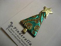 Christmas Tree polymer clay pin