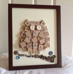 Owl Wall Art Scrabble Tile Art 8 x 10 Framed Canvas Wall Hanging Owl Decor