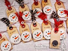 Snowman Magnet Tags.  I made these snowman face magnets, to put on reusable gift tags. When I was in college I used to make snowman face lapel pins out of clay that look just like these magnet faces. Some had hats, some had scarves, some had ear muffs, and some were just faces.