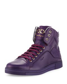 Stephen 2 Calfskin High-Top Sneaker, Purple by Salvatore Ferragamo at Neiman Marcus. Purple Sneakers, Purple Shoes, Casual Sneakers, Leather Sneakers, Sneakers Fashion, Casual Shoes, High Top Sneakers, Men's Sneakers, Top Shoes