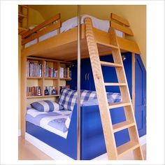 Built in lofty bunks in a sloped ceiling up stairs of older home or attick