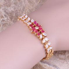 Amazing  Red Cubic Zirconia White CZ Yellow Plated Length 17cm Link Chain Bracelet C0015 #Affiliate