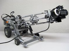 """AFOL Peer Kreuger's fascinating Power Functions-enhanced """"camera vehicles"""" are used as mini dollies to record videos of his Lego creations. UPDATE: Here ar Lego Mindstorms, Lego Technic, Lego Camera, Lego Machines, Lego News, Lego Creations, Diy Projects, Upcycling Projects, Legos"""