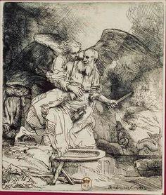 Rembrandt, El sacrificio de Abraham (1655, agua fuerte y punta seca)