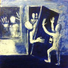 "INTRUSION 12""x12"" acrylic on canvas panel,   jack larson, ORIGINAL ART  #Abstract"