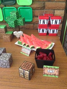 Themed party food at a Minecraft birthday party! See more party planning ideas at CatchMyParty.com!