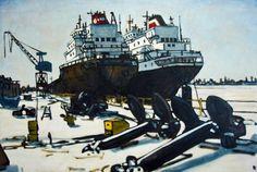 Great Lakes, Port Weller - by Peer Christensen ($2300) Great Lakes, Sci Fi, Artwork, Work Of Art, Science Fiction