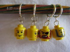"""""""Lego Head Stitch Markers by thequizzicalowl on Etsy, $10.00""""  What would Zach think if I bought these?"""
