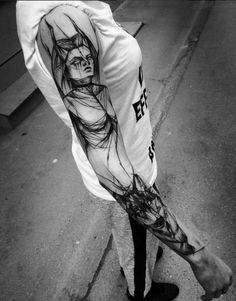 Sketch Style Sleeve Tattoo by Inez Janiak