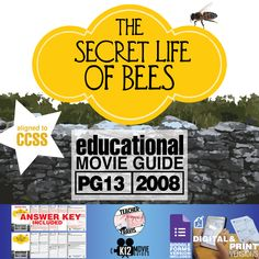 The Secret Life of #Bees Movie Guide | Questions | Worksheet (PG13 - 2008) challenges students during this emotional, hard-hitting movie based on #SueMonkKidd's 2001 novel. #TheSecretLifeOfBees #SecretLifeOfBees #Teachers #MovieGuides #LessonPlans #TPT #TeachersPayTeachers #CCSS #CoronaVirus #Homeschooling #RemoteLearning #DistanceLearning #StaySafe #GoogleClassroom #GoogleForms