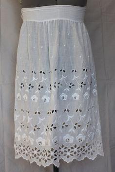 Vintage Half Apron White Cotton Eyelet 1950's by ilovevintagestuff