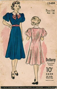 1930s Du Barry 1549B Vintage Sewing Pattern Juniors' Princess Dress Size 14 Bust 32