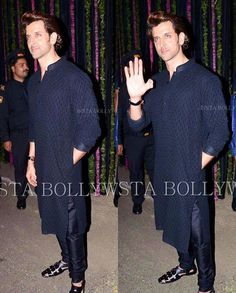 #Spotted #HrithikRoshan looking handsome in an #AnitaDongre kurta at the Bachchan Diwali bash.