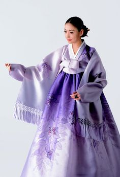 Modern #Hanbok, traditional Korean dress with purple flower #jeorgori & #chima