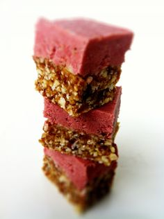 Healthy/Clean Strawberry Cheesecake Bites (Vegan, Gluten-Free, and No-bake) These take only 10 minutes to put together! Say hello to the guilt-free, pink, bliss! http://www.damyhealth.com/2012/01/healthy-strawberry-cheesecake-bites-vegan-gluten-free-and-no-bake/