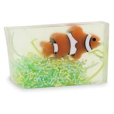 100% handmade and vegan soap. Clownfish splashed in a sea of cool water with a splash of sparkling pear! Made in USA. Make your kids' bathing fun with this cute Clownfish soap.
