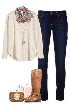 Day 2! {#sevendaysinfall} by curly-girl16 on Polyvore featuring polyvore, fashion, style, Paige Denim, Tory Burch, J.Crew, Kate Spade, Essie, H&M, Bare Escentuals, Aerie and sevendaysinfall