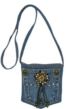 Blue Denim Small Mini Pouch Crossbody Bag with Beads, Studs and Suede Fringe Blue Jean Purses, Shabby Chic Stil, Fringe Crossbody Bag, Denim Handbags, Denim Purse, Denim Crafts, Old Jeans, Denim Jeans, Boho Bags