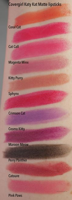Covergirl Katy Perry Katy Kat matte lipstick swatches