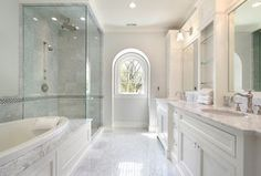 """""""View this Great Contemporary Master Bathroom with Rain Shower Head & Crown molding by Home Stratosphere. Discover & browse thousands of other home design ideas on Zillow Digs."""""""