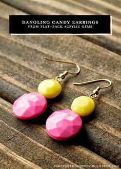 DIY: Dangling Candy Earrings from Flat-Back Gems @mintedstrawberry.blogspot.com #DIYaccessory #DIYtutorial #DIYjewelry #summercraft
