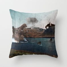 King Godzilla Throw Pillow