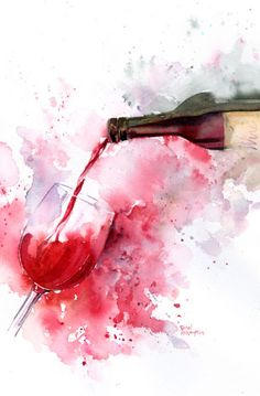 Art Print: Red Wine Pour by Rachel McNaughton : If you love wine as much as we do, check out our wine art canvas wrap & tees range - click that link! Wine Painting, Watercolour Painting, Easy Watercolor, Painting Canvas, Art Surf, Art Du Vin, Pouring Wine, Pouring Coffee, Wine Art