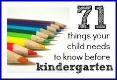71 Things You Child Needs to Know Before Kindergarten