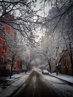 Snow-covered street in NYC
