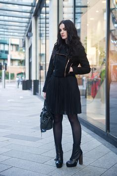 Stephanie of FAIIINT wearing minkpink wool biker jacket, Pussycat London pleated shirt dress, Topshop lace up boots, Balenci