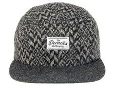 Black Grey Wool 5 panel Hat by THE DECADES #snapback #snapbax