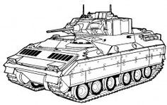 Army Tracked Vehicles Coloring Pages Free Colouring Pictures to Print - T-34 Tank - Bradley Fighting Vehicle Front