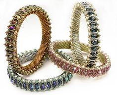 Techniques: Flat Peyote stitch Zippering flat Peyote stitch into tubular Tubular Peyote stitch Netting Right Angle Weave variation_ Honeycomb Bangle by Cynthia Rutledgeby Cynthia Rutledge. Bead and Button AprilCubic Right Angle Weave - how to create Beads Jewelry, Seed Bead Bracelets, Seed Beads, Beaded Bracelet Patterns, Jewelry Patterns, Beads And Wire, Creations, Handmade Jewelry, Jewelry Design