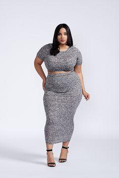 bc2aa0e085a9f Not So Basic Two Piece Dress Set Gray Plus Size