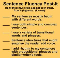 Sentence Fluency Post-It