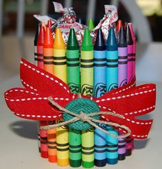 Loved making these with kids, very glue gun intensive--for Teachers gift.Hint: buy your crayons in August, usually .25 for a 24 pack.