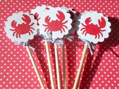 Nautical Cupcake Toppers  Crab Lobster Cupcake by suziescards
